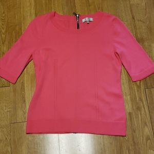 Milly hot pink exposed zip back wool sweater